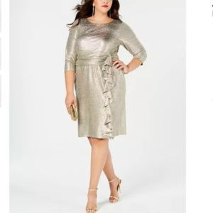 NWT Jessica Howard Metallic Ruffle Gold Dress 18W